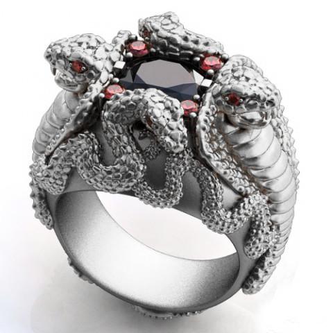 Перстень  женскийсеребряный Кобры КЦ-38 Б