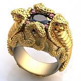 Перстень  женскийсеребряный Кобры КЦ-38 Б, фото 2