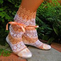 Нежные летние стильные ажурные женские сапожки-полосатики из кружева макраме (белый+персик). Арт-0041, фото 1