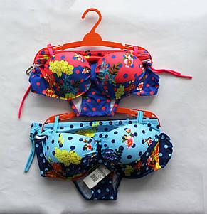 Стильный яркий раздельный купальник с цветочным принтом, фото 2