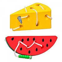 Деревянные игрушки шнуровка для малышей Арбуз и Сыр