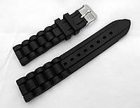 Ремешок силиконовый черный универсальный, стальная застежка (18,20,22мм)