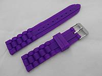 Ремешок силиконовый фиолетовый универсальный, стальная застежка (18,20,22мм)