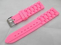 Ремешок силиконовый розовый универсальный, стальная застежка (18,20,22мм)