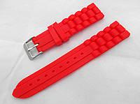Ремешок силиконовый красный универсальный, стальная застежка (18,20,22мм)