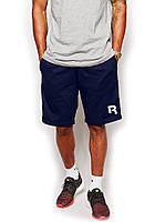 Мужские спортивные шорты Reebok синего цвета с белым логотипом