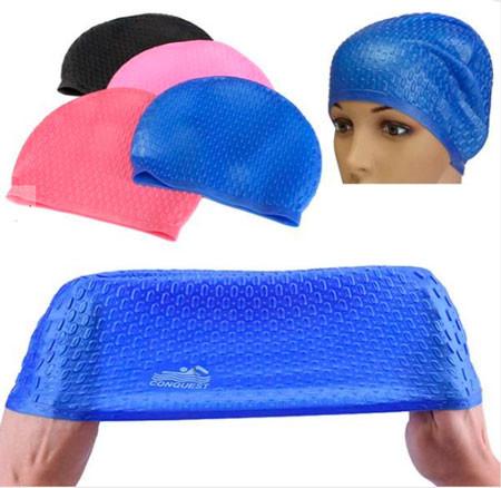 Силіконова шапочка для плавання на довге волосся