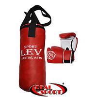 Набор для бокса детский. Мешок + перчатки, красный, фото 1