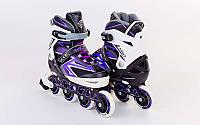 Роликовые коньки раздвижные  ZELART (р-р 35-38, 39-42) ELEMENT (PL, PVC,колесо PU,алюм. рама,фиолетовый), фото 1