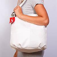 Белая сумка-мешок женская вместительная белоснежная