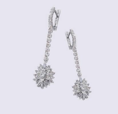 Женские серьги из белого золота с бриллиантами С26Л1№7