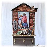 Ключница фоторамка для рыбака Клевого клева Оригинальный подарок мужчине рыболову Ручная работа, фото 1