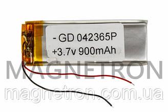 Аккумулятор литий-полимерный GD 042365P 3,7V 900 mAh 22x65mm