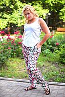 Модные женские брюки с втачными карманами принт батал / Украина / штапель