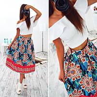Костюм топ с воланом+юбка с ярким принтом