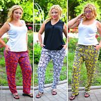 Модные женские брюки с карманами принт мелкие цветы батал / Украина / штапель