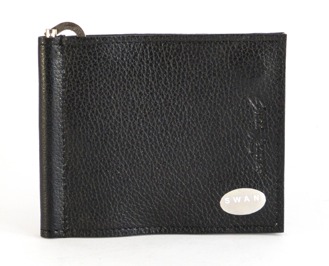 Кожаный компактный мужской зажим для денег  SWAN art. 0014 black