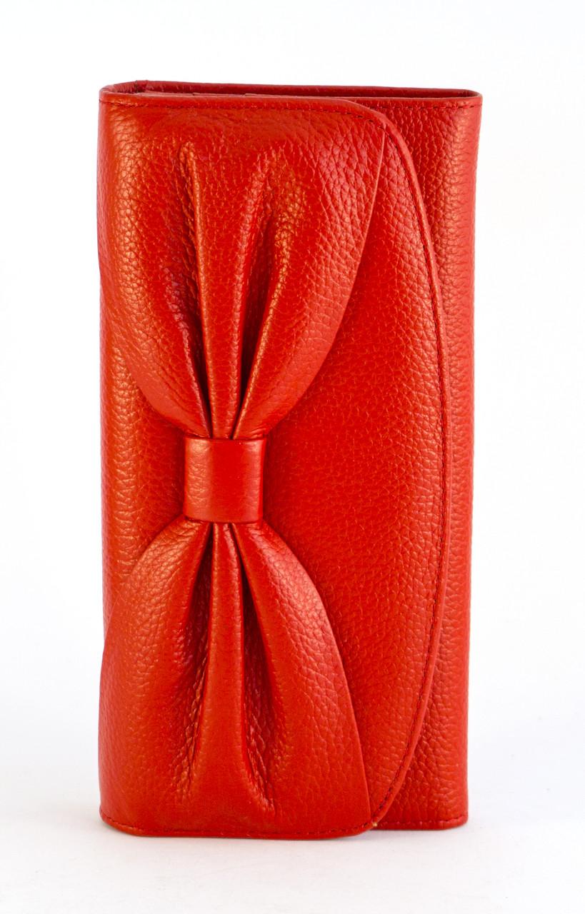 Кожаный красный аккуратный женский кошелек с бантом SALFEITE art. 12194