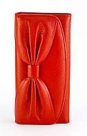 Кожаный красный аккуратный женский кошелек с бантом SALFEITE art. 12194, фото 1