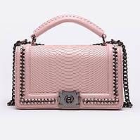 Клатч женский Chanel Le Boy (Шанель Бой), рептилия, розовый