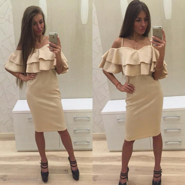 Шикарное платье с двойным воланом