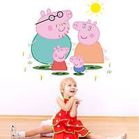 Интерьерная декоративная наклейка на стену Семья Пеппы (детские наклейки, свинка, виниловая пленка оракал)