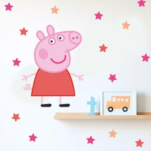 Интерьерная виниловая наклейка свинка Пеппа (наклейки детские мультяшные, звезды, декор детской на стены обои)