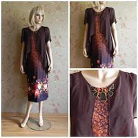 Платье с накидкой коричневое с цветочным принтом