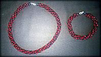 Комплект намисто + браслет з бісеру чорно-червоний, ручна робота, жіноча прикраса аксесуар