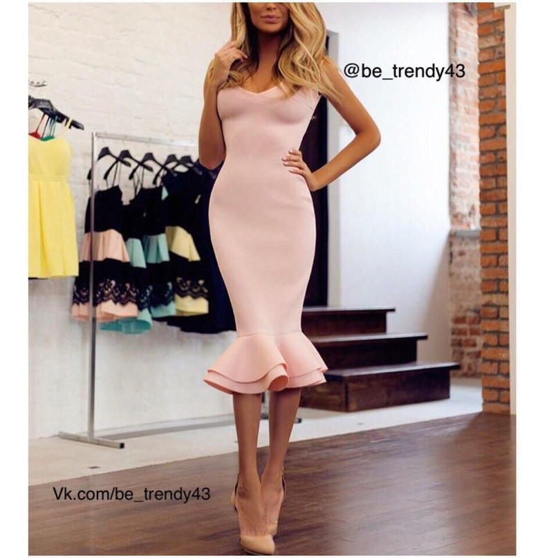 Платье с двойной рюшей по низу