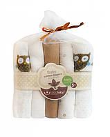 Комплект муслиновых пеленок (коричневый), 5шт, 80х80см, BoboBaby