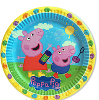 Тарелки  бумажные праздничные Свинка Пеппа (голубая)