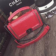 Клатч женский Chanel Le Boy (Шанель Бой), рептилия, красный
