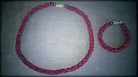 Комплект намисто + браслет з бісеру червоно-темного та чорного кольрів, ручна робота, жіноча оздоба аксесуар