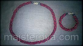 Комплект намисто + браслет з бісеру червоно-темного та чорного кольрів, ручна робота, жіноча прикраса аксесуар