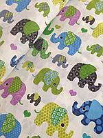Хлопковая ткань польская слоники сине-зеленые на белом