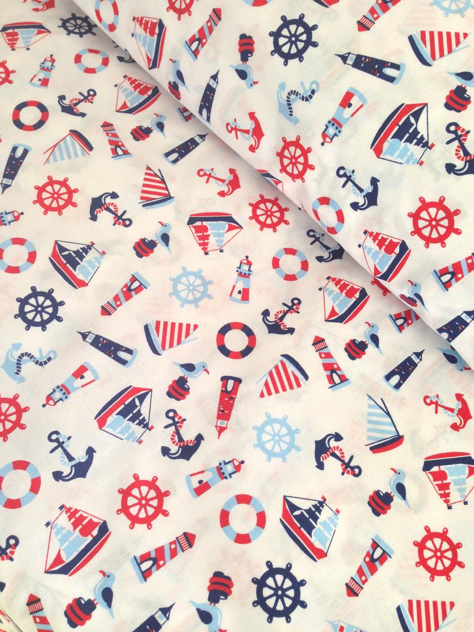Хлопковая ткань польская балтика сине-красная