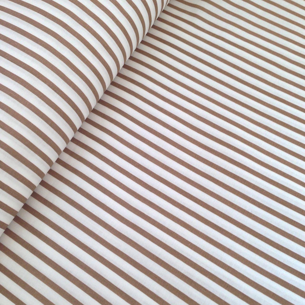 Хлопковая ткань польская полоска кофейно-белая