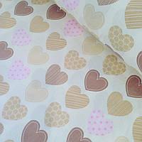 Хлопковая ткань польская сердечки кофейно-розовые на бежевом