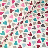 Хлопковая ткань польская сердца разноцветные на белом
