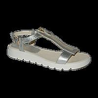 Женские серебрянные сандалии со змейками
