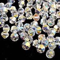 Бусины Swarovski Биконус Crystal AB 4mm  1шт
