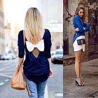 Блуза с треугольным вырезом на спине и бантом, фото 1