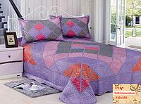 Покрывало 230х250  на  кровать с наволочками GoldenTex 230х250 фиолетовый ромбик