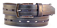 Серый прочный мужской рремень под джинсы MASKO кожа