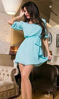 Однотонное летнее женское платье свободного фасона под пояс  рукав три четверти двойной шифон