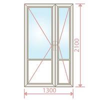 Пластиковые балконные двери (1300х2100) - Magazin Okon