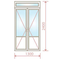 Балконные двери двухстворчатые (1300х2400) с фрамугой  - Magazin Okon