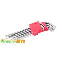 Набор Г-образных удлиненных шестигранных ключей 9 шт., 1,5-10 мм, Cr-V Intertool HT-0602