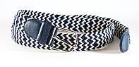 Классный тканевый мужской плетеный ремень белая в синюю полоска, фото 1